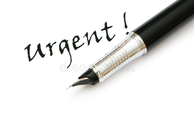 Golden pen and urgent message isolated