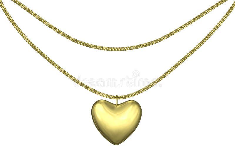 Download Golden pendant heart stock illustration. Image of adorn - 27401822
