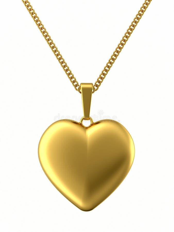 Golden pendant in shape of heart on chain stock illustration