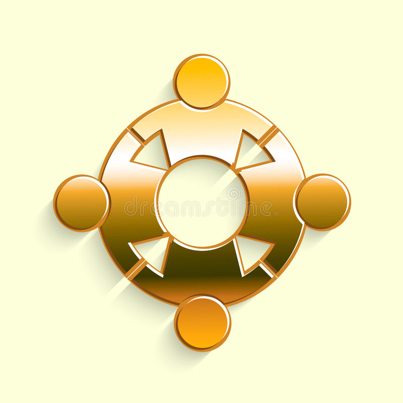 Golden People Reunion Logo. Concept for a Group of Persons United Together royalty free illustration