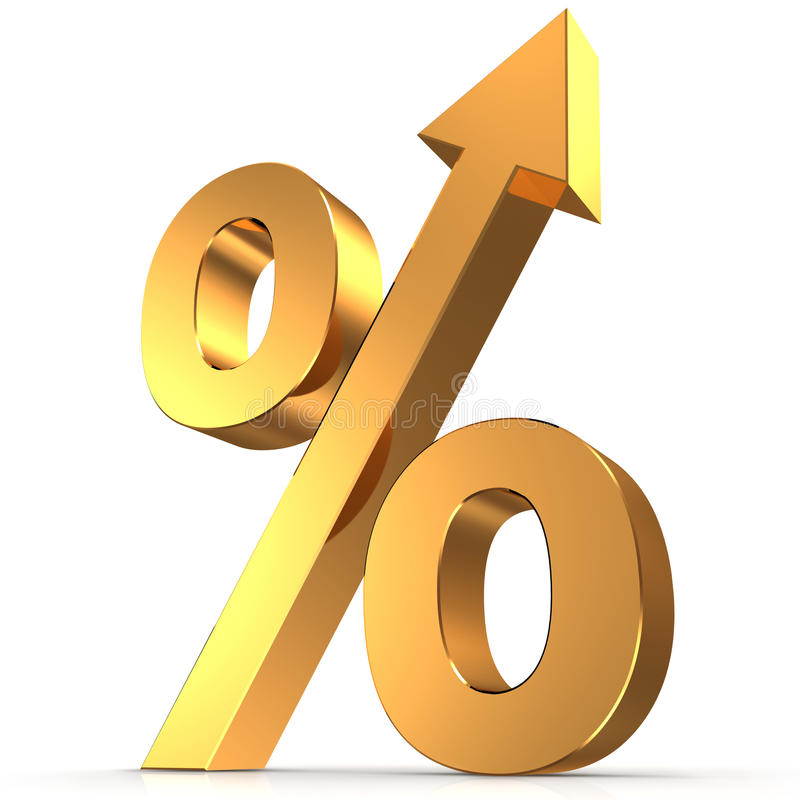 Golden percentage symbol with an arrow up stock illustration