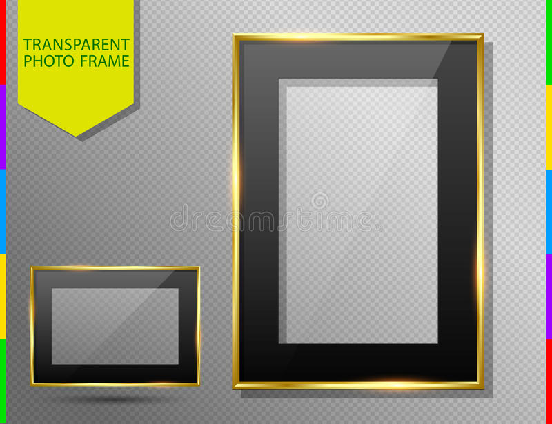 Golden photo frame with black mount, transparent glass and shadow vector illustration