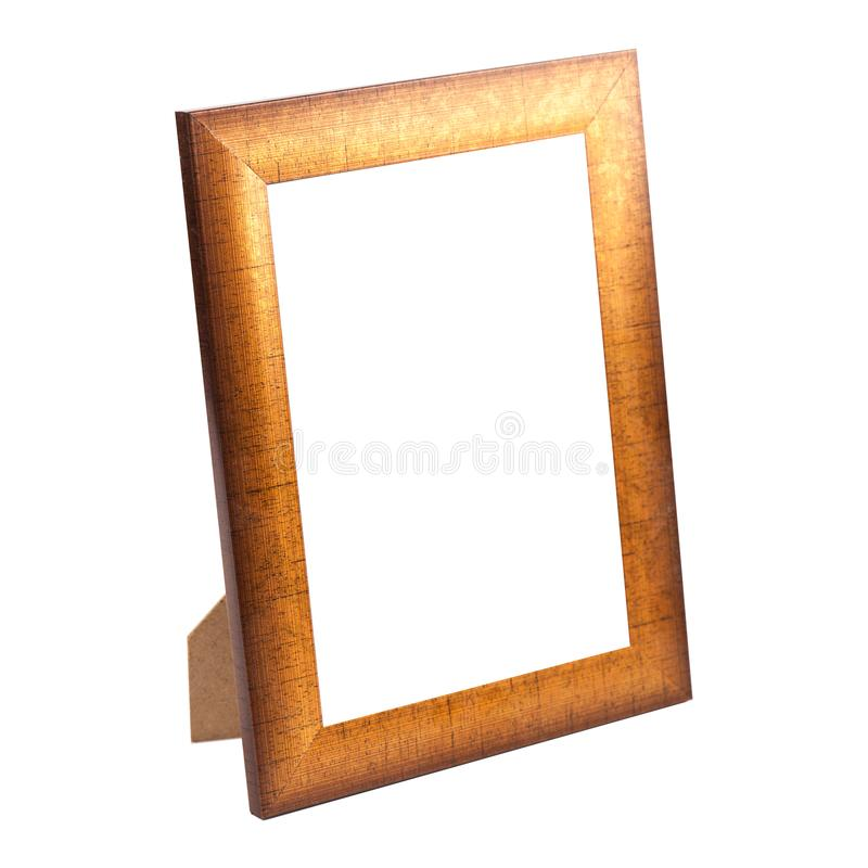 Golden photo frame isolated stock photo