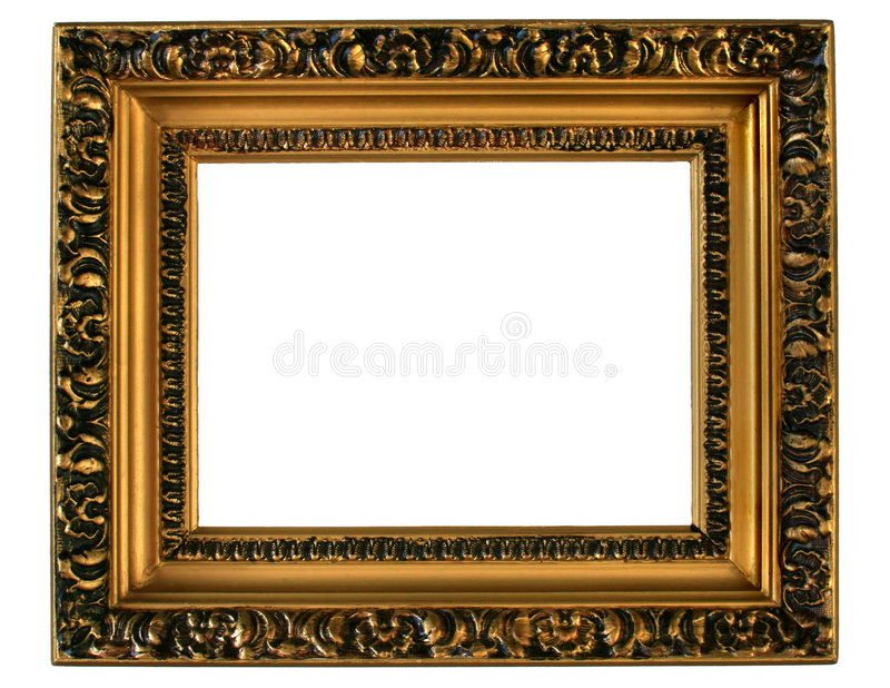 Golden Picture Frame. Gilded gold picture frame ready for your insertion stock photos