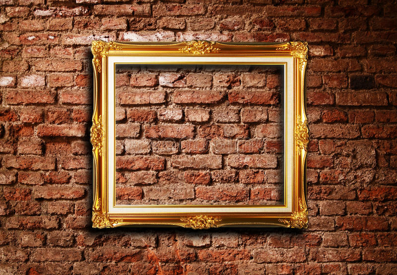 Download Golden Picture Frame On Grunge Brick Wall Stock Image - Image: 16033881