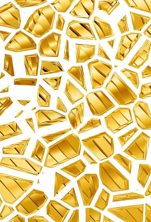 Golden pieces modern 3d design stock photography