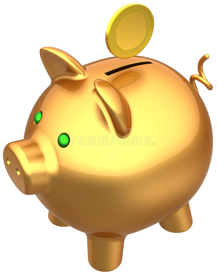 Golden Piggy Bank With A Coin Royalty Free Stock Photography