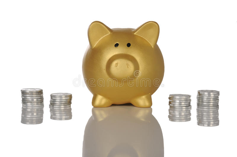 Download Golden Piggybank With Coins Stock Photo - Image of financial, yellow: 30863958