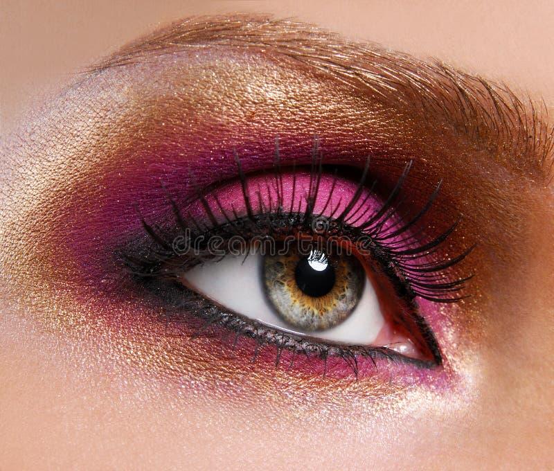 Golden-pink make-up. royalty free stock image