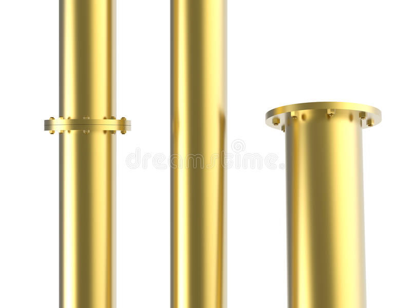 Golden pipe with joint royalty free illustration