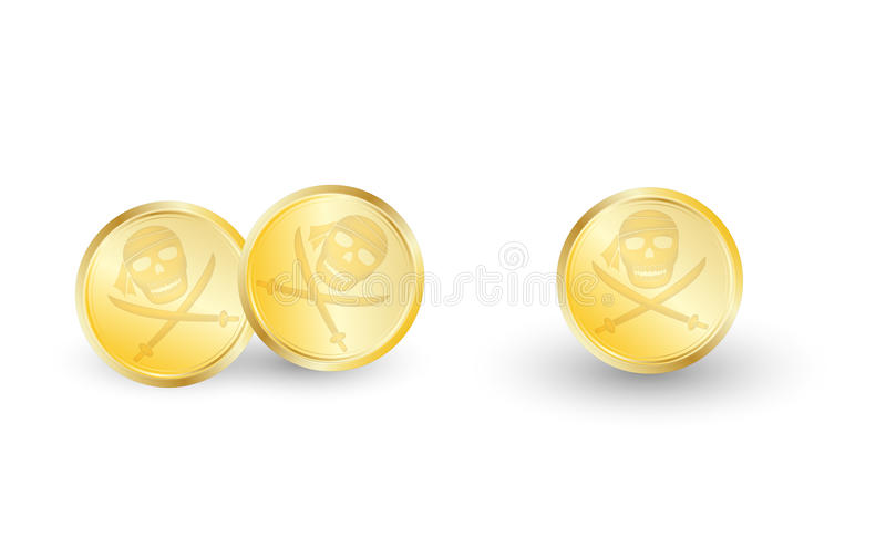 Golden pirate coin on a white background vector illustration