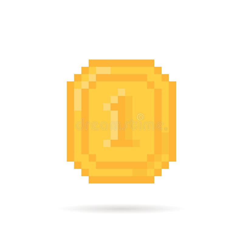 Golden pixel art coin money for video game royalty free illustration