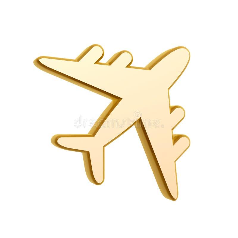 Golden Plane Symbol Stock Photography