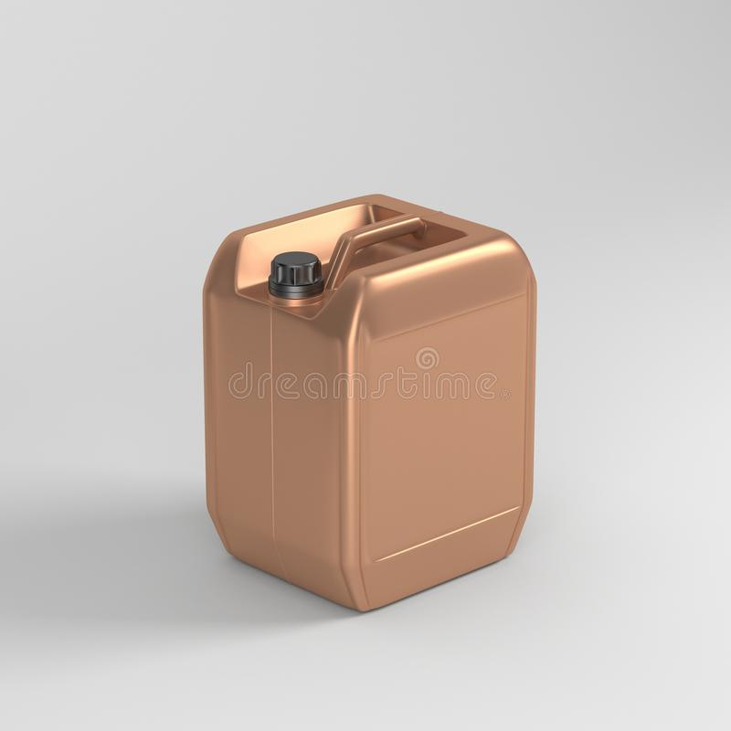 Golden plastic jerrycan mockup for motor oil and other. 3d rendering vector illustration