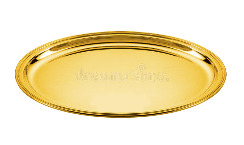 Golden plate. Oval golden plate isolated on white royalty free stock image
