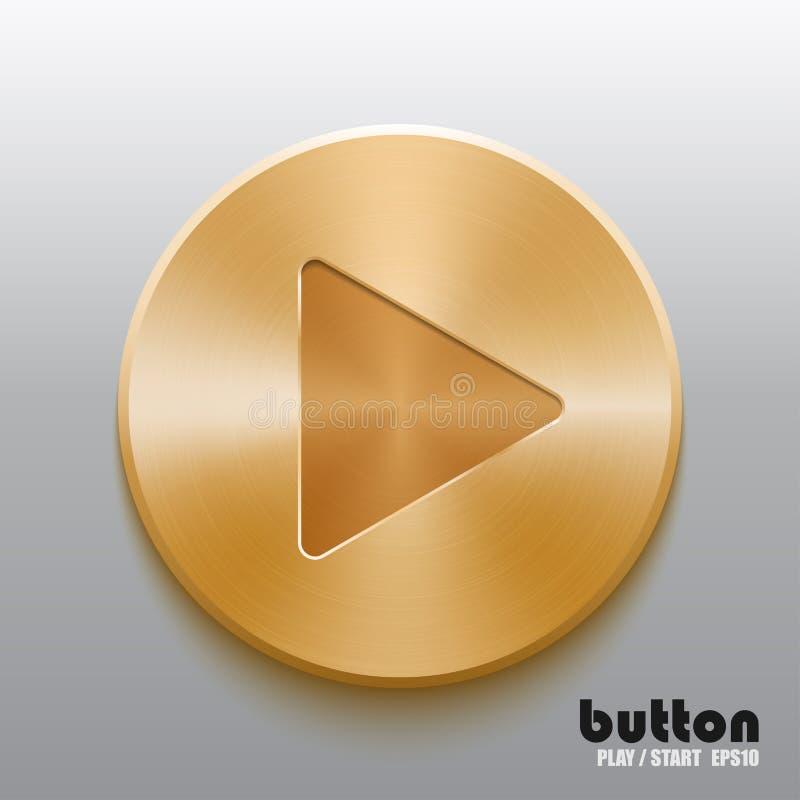 Golden play button stock illustration