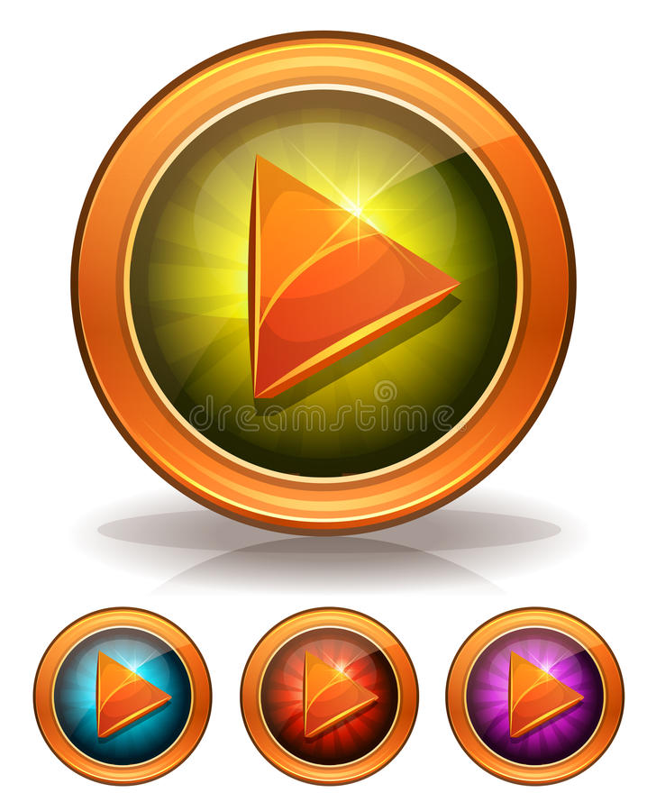 Golden Play Buttons For Game Ui royalty free illustration