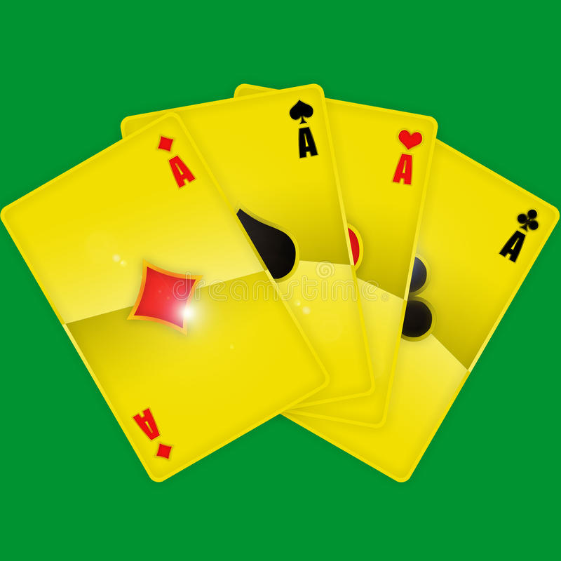 Golden playing cards stock photos