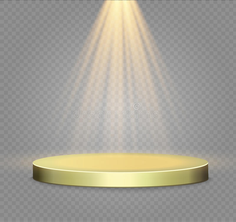 Golden podium on a transparent background.the podium of winners with bright lights.spotlight. vector illustration