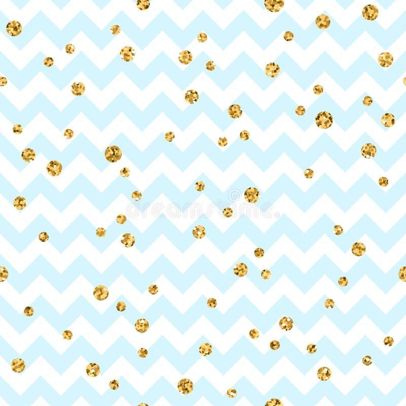 Golden polka dot seamless pattern. Gold confetti glitter zigzag blue 1 royalty free illustration
