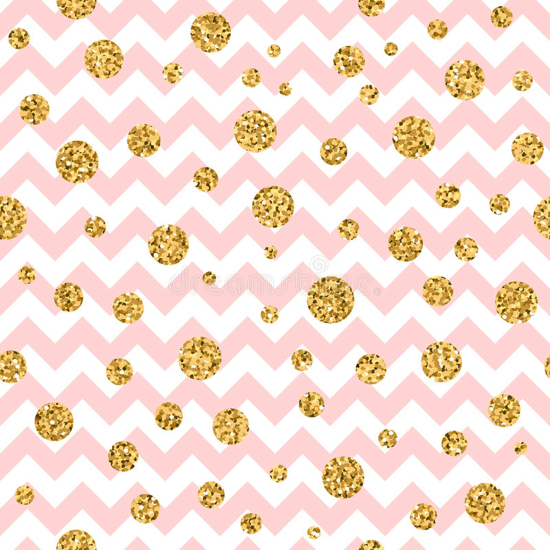 Golden polka dot seamless pattern zig zag pink. Golden polka dot seamless pattern. Gold confetti glitter zigzag. Geometric pink and white zig zag texture royalty free illustration