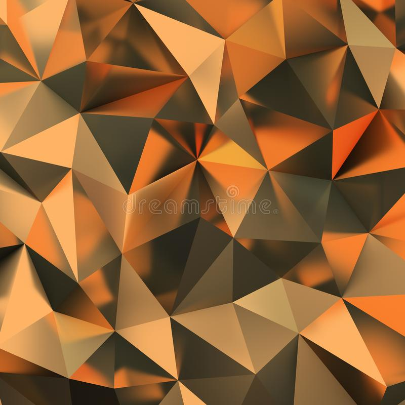 Golden polygonal background stock illustration