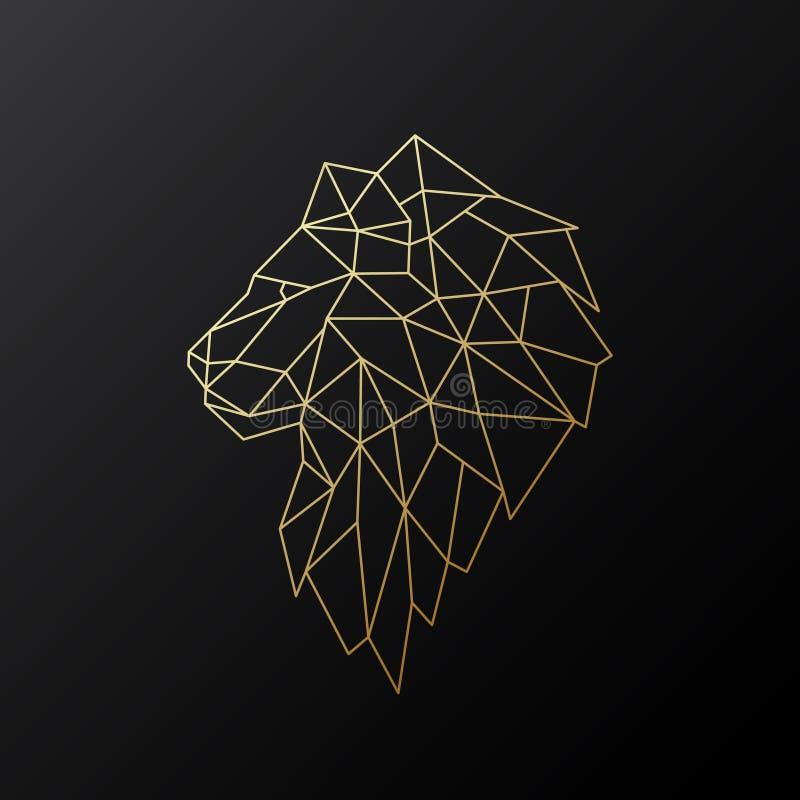 Golden polygonal Lion illustration isolated on black background. Geometric animal emblem. Vector illustration stock illustration