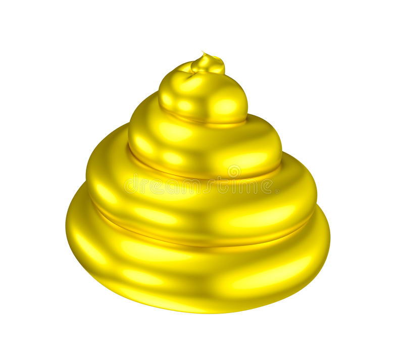 Golden poop shiny shit illusion. Gold bullshit. A paradox mixing shit (poo) with golden coating. Metaphor for love and hate, delight and disgust, good and bad or royalty free illustration