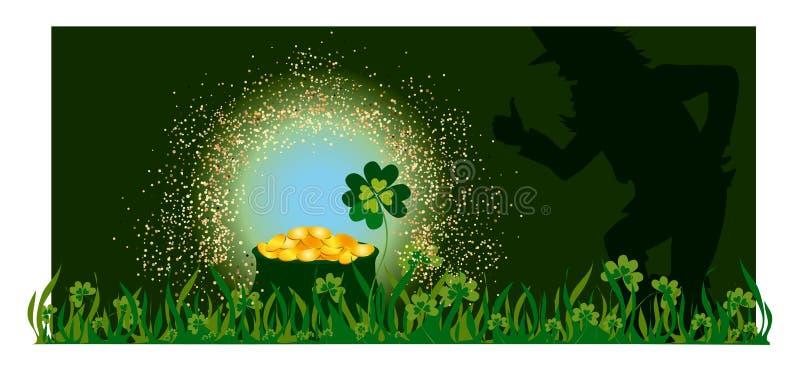 Golden pot and Leprechaun royalty free illustration