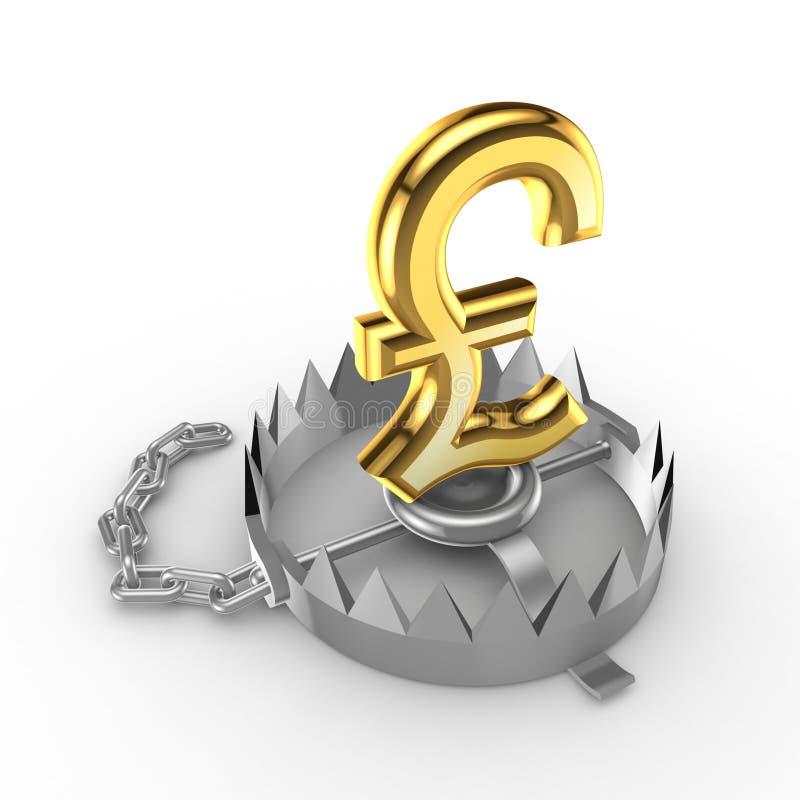 Download Golden Pound Sterling Sign On A Trap. Stock Illustration - Illustration: 26933885