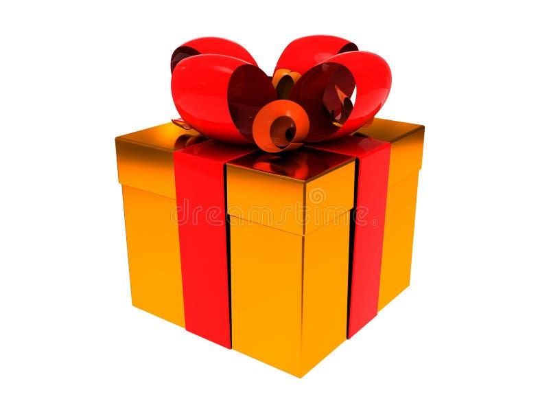 Golden Present Box Stock Image