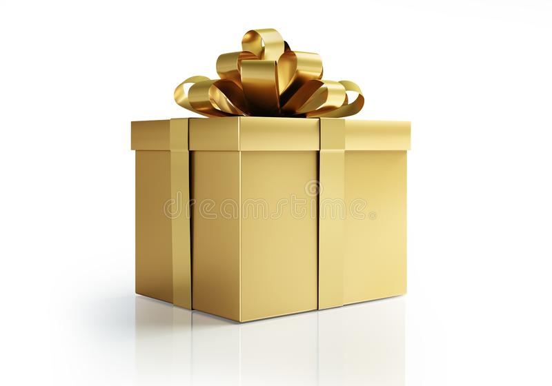 Golden present with golden bow vector illustration