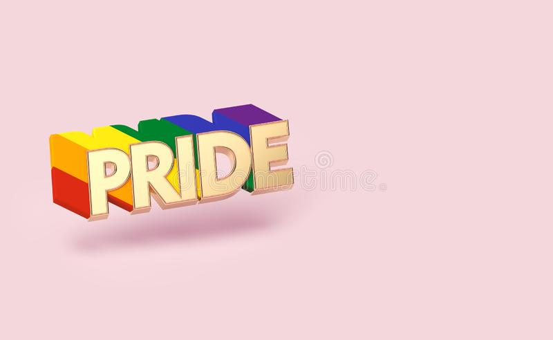 Golden PRIDE word pin with rainbow outline. LGBTQ pride month symbol concept. Isolated on pastel pink background with copy space. stock illustration