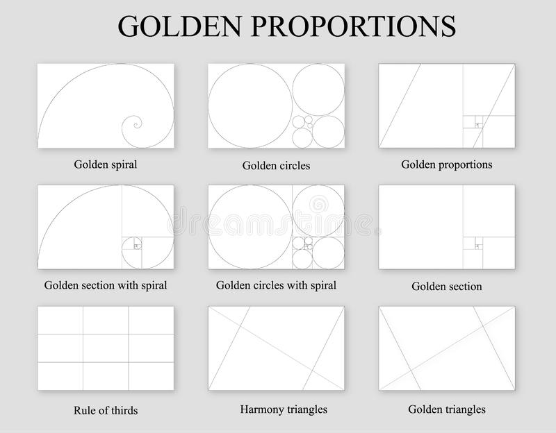 Golden proportions set . Golden section ration royalty free illustration