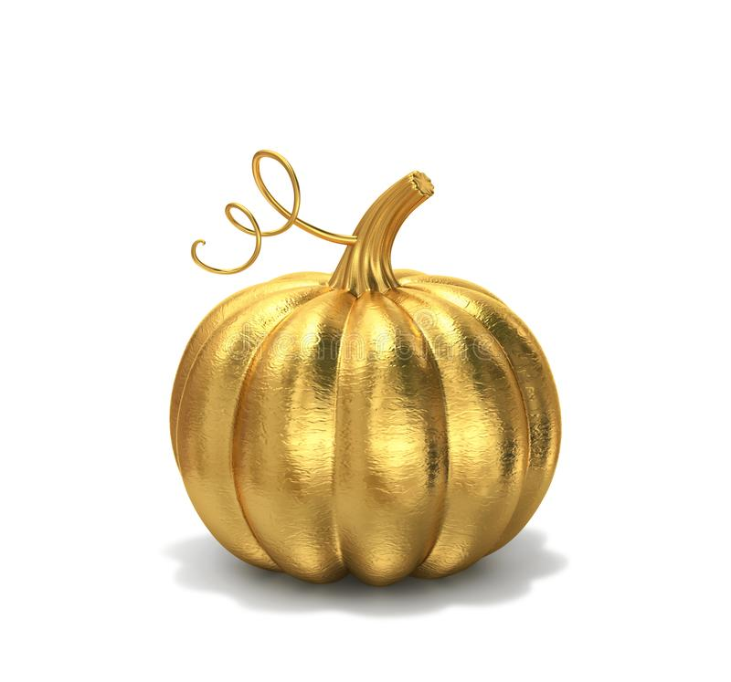 Free Golden Pumpkin Isolated On White, Clipping Path Included Royalty Free Stock Photo - 157254675