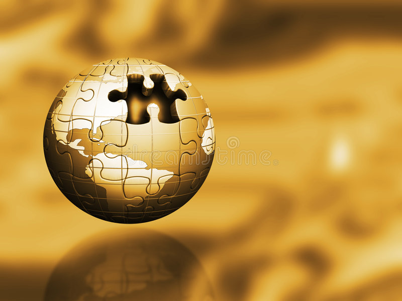 Golden puzzle globe royalty free illustration