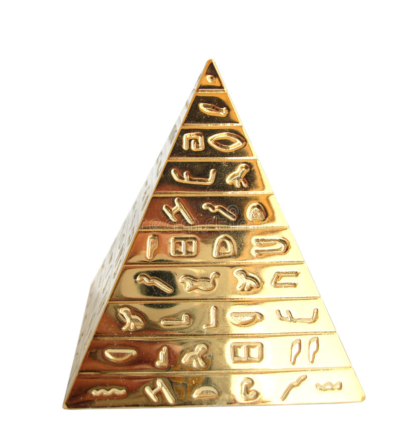 Golden pyramid. With hieroglyphs on a white background stock photography