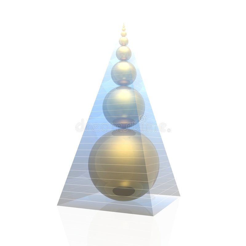 Golden pyramid. Pyramid and golden ratio spheres (magic pyramid by A.Golod royalty free illustration