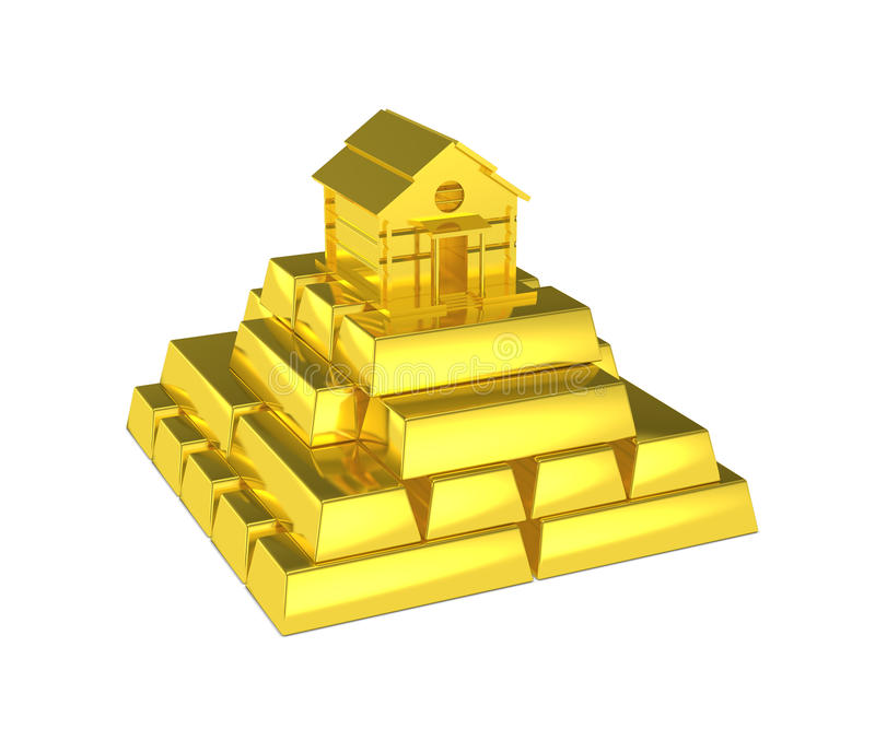 Gold pyramid house at the top. Isolated bright golden pyramid stacked with shiny gold bar and a gold house at the top. Metaphor for luxury home, increase