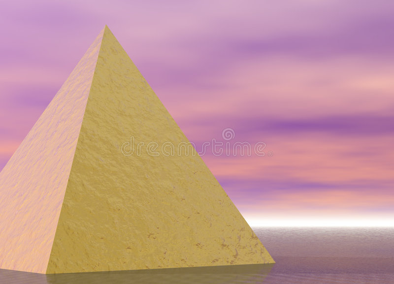 Golden Pyramid on Pink Purple. Ocean Scene royalty free illustration