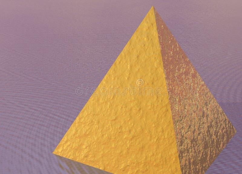 Golden Pyramid on Pink Purple. Ocean Scene stock illustration