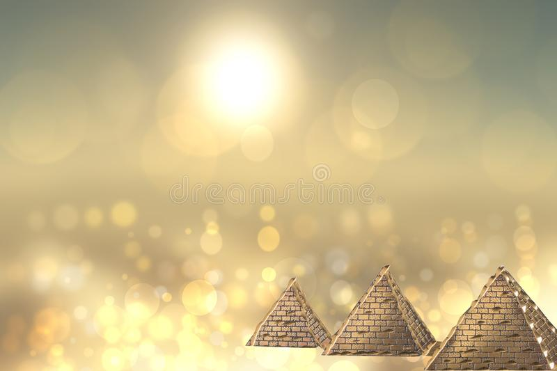 Golden pyramids ancient egypt with golden shinig bokeh background. Egypt template design for travel agency with space for your di vector illustration