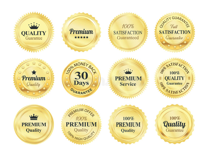 Golden Quality Guarantee Badges stock illustration