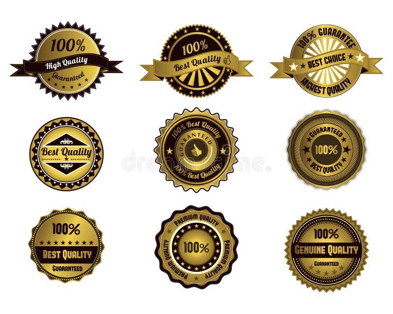 Golden quality labels. Vintage vector design royalty free illustration