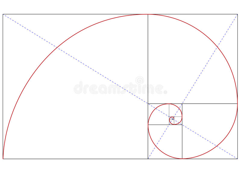 Golden ratio. Fibonacci golden ratio for design harmony
