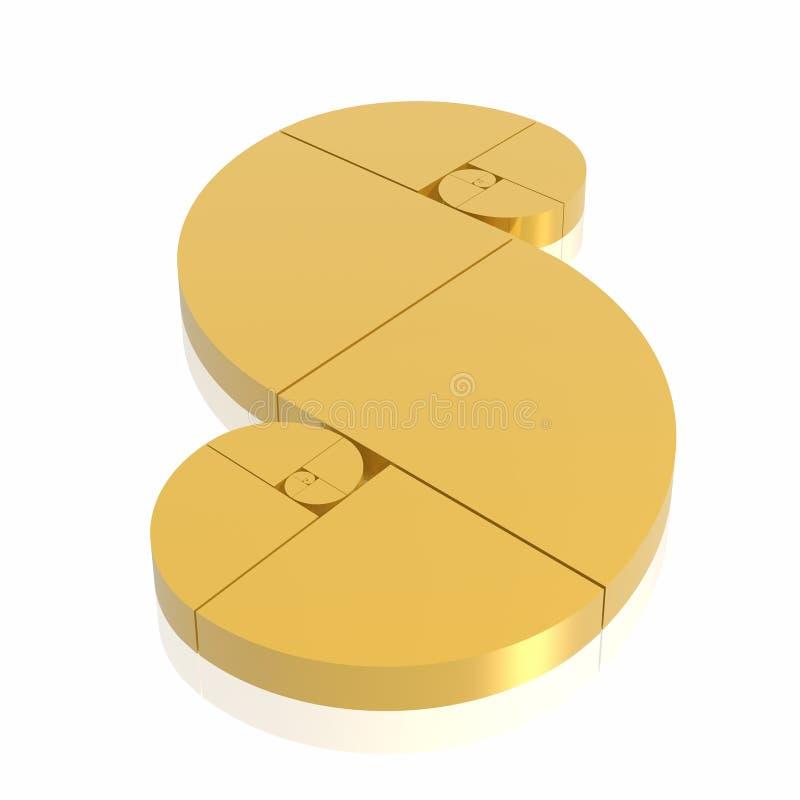 Golden ratio. (high resolution 3D illustration royalty free illustration