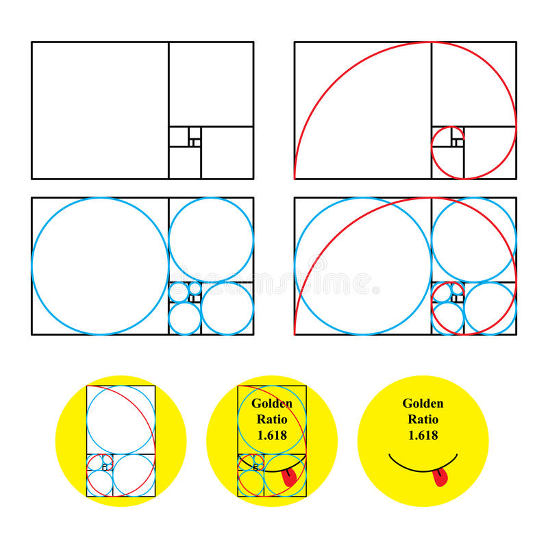 Golden ratio 1.618 check. Illustration admire of golden ratio concept. Smiley tongue out check like this, how the look stock illustration