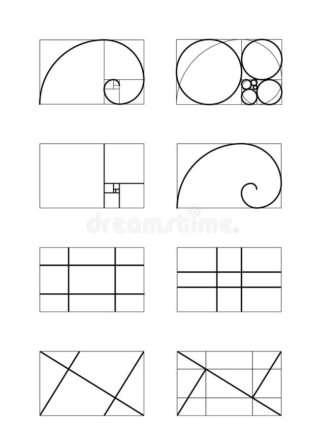Golden ratio. Cover template. Pattern of proportions in the illustration based on the golden section. Perfect Design. Vector drawing. Scalable vector royalty free illustration