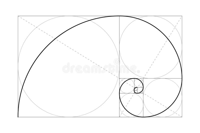 Golden ratio. Drawing. Golden ratio. Fibonacci number. Circles in golden proportion. Geometric shapes. Abstract vector background. Vector illustration royalty free illustration