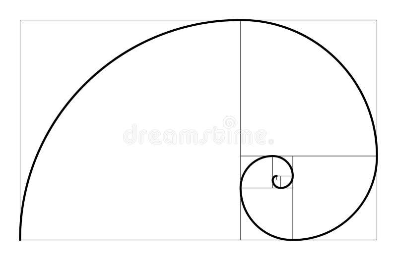 Golden ratio geometric concept. Fibonacci spiral. Vector illustration. Golden ratio geometric concept. Fibonacci spiral. Vector illustration royalty free illustration